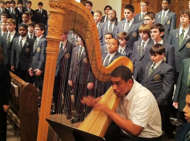 Alumnus Thomas on Harp