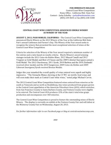 CCWC 2013 Winery of the Year Press Release.jpg