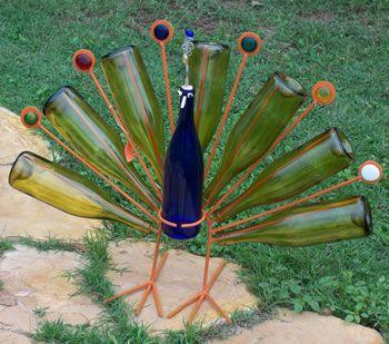 Peacock wine bottle art
