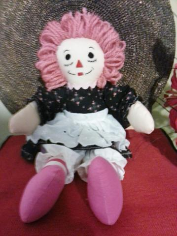 Raggedy Ann 15 Inch Flowery Pink on Black With Pink and White Striped Legs, Dull Pink Hair (1).jpg