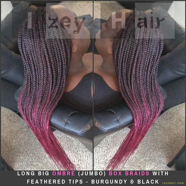 Long Big Ombre (Jumbo) Box Braids with Feathered Tips - Burgundy & Black - Izey Hair - Las Vegas, NV.jpg