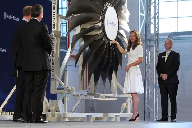 5 - The Duchess of Cambridge placing in the last fan blade to unveil the first Rolls-Royce Trent aer.jpg