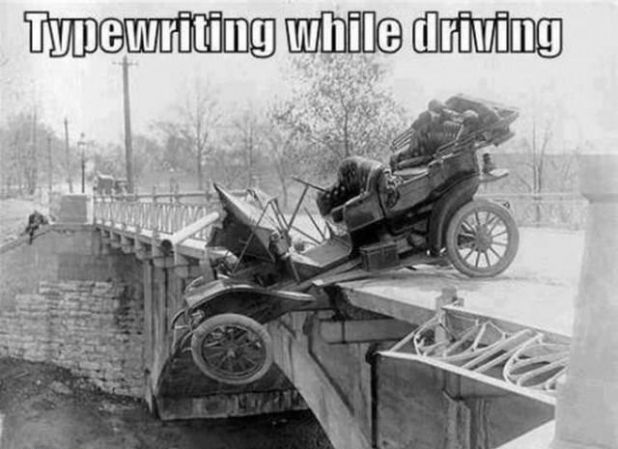 Typewriting while driving.jpg