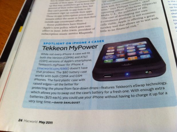 Tekkeon MP1280 iPhone Battery Case in Macworld Magazine.jpg