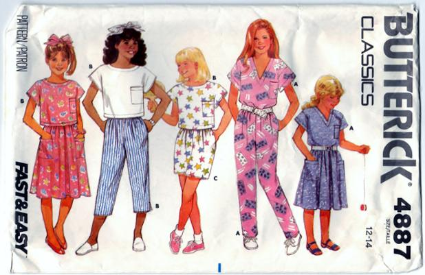 Butterick 4887 Pattern Childrens - Girls Top, Pants, Shorts, and Skirt Front Scanned 06-30-2015.JPG
