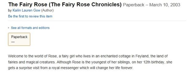 Kailin Gow Bitter Frost and Feyland book Fairy Rose Published in 2003.jpg