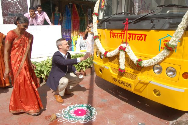 Inauguration of the School on Wheels bus donated by Springer.jpg