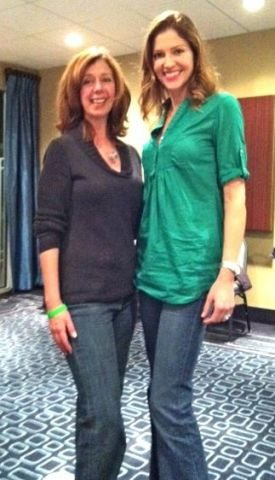 Susannah charleson and Tricia Helfer on set of Scent of the Missing