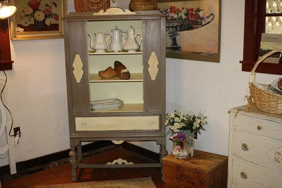 antique wood cabinet - annie sloan chalk paint - chic prairie home decor plate grooves in shelves - solid wood.jpg