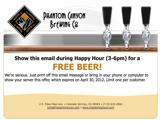 Get 1 FREE BEER from 3-6pm, 1 per day until April 30, 2012.png