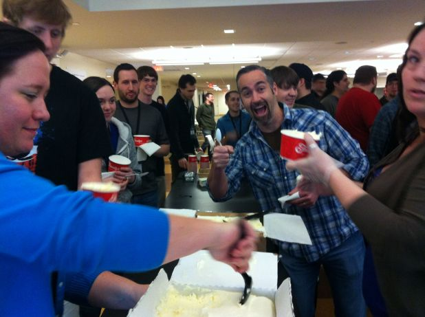 38 Studios employees celebrating 1-yr anniversary in Providence, RI on April 11, 2012