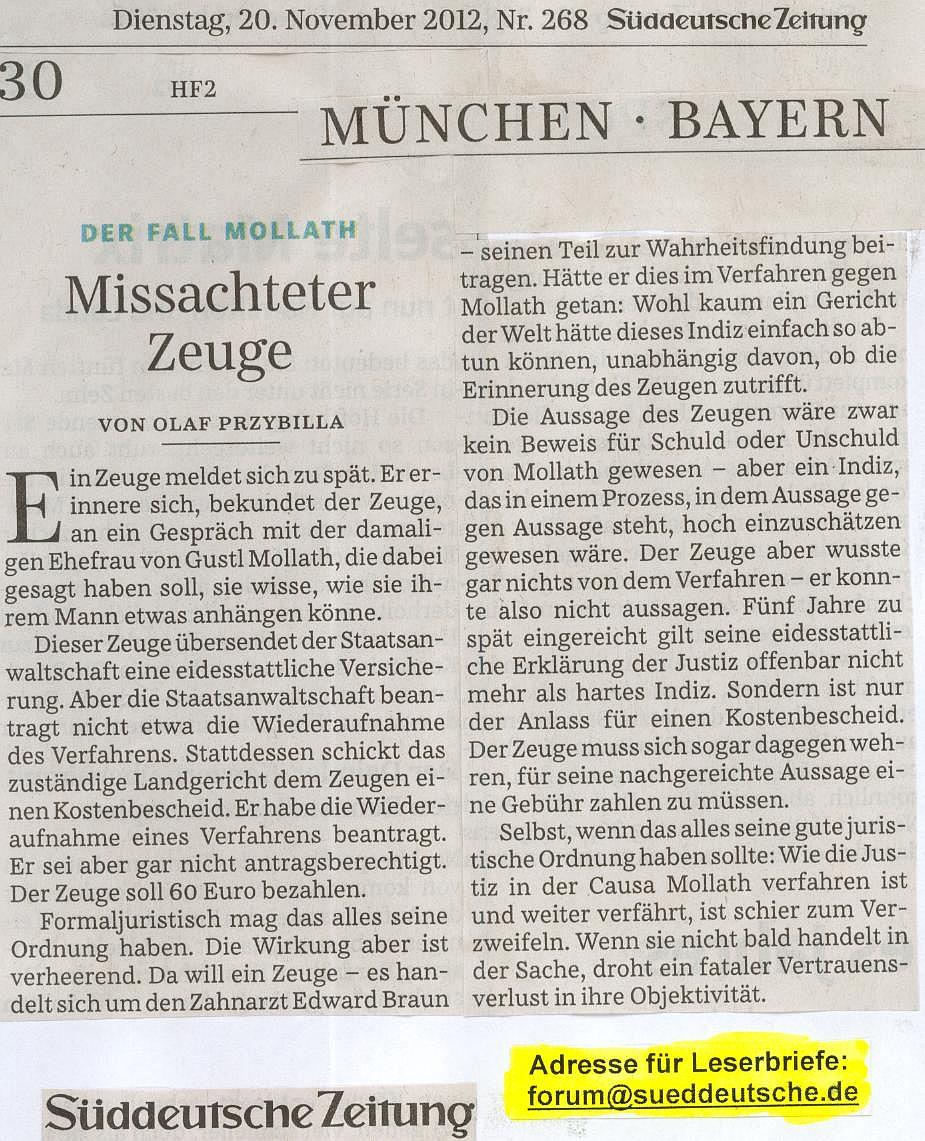 SüddeutscheZeitung 'Missachteter Zeuge' (Di 20.11.2012-S30).jpg