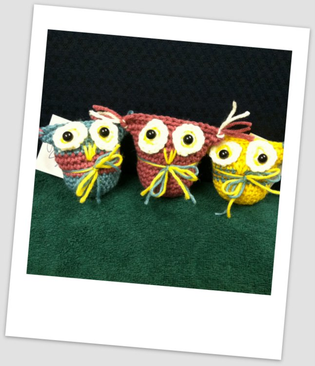 Crocheted Owls by Intern Elizabeth Mitchell Spinney