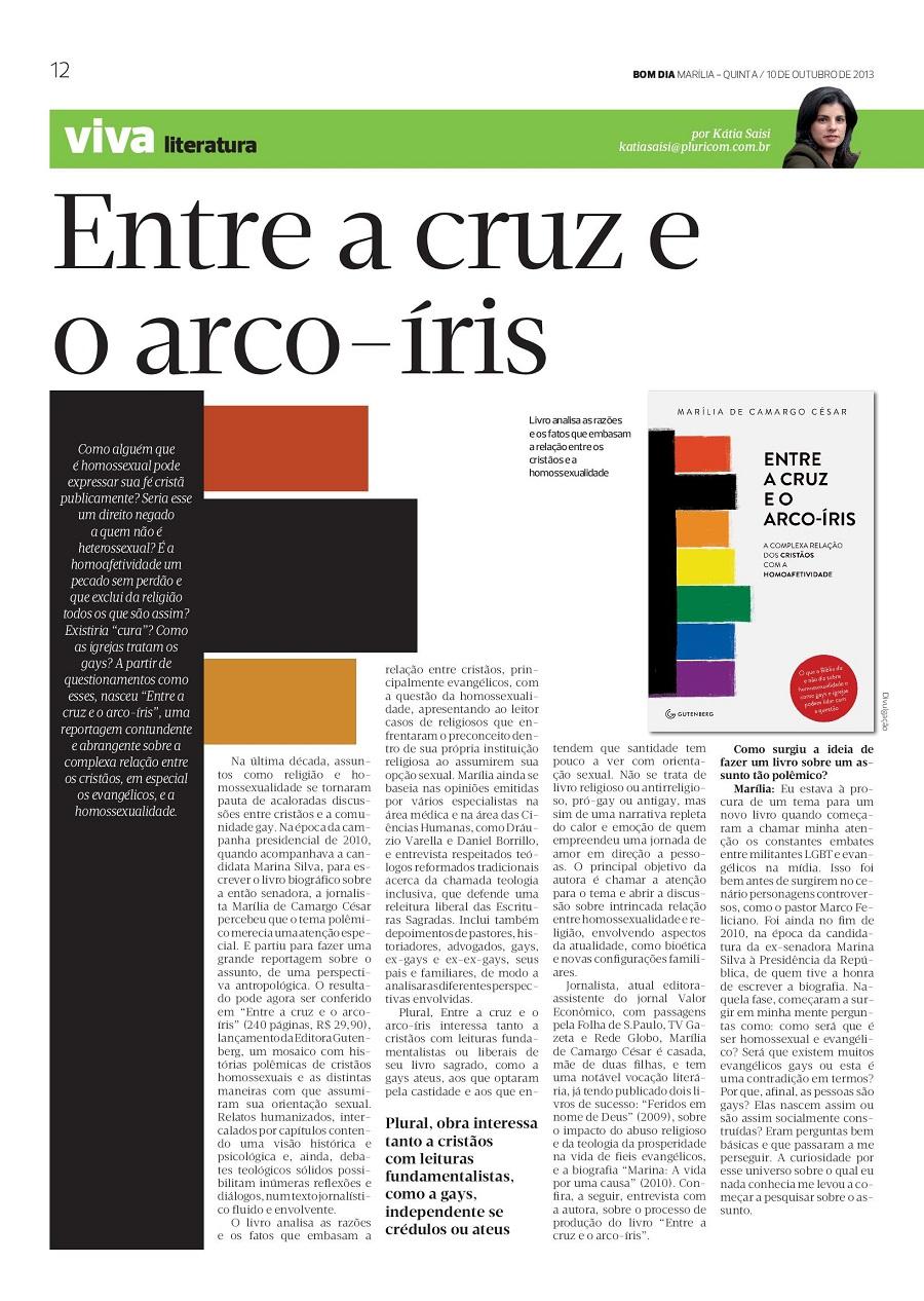 A autora de Entre a cruz e o arco-íris, Marília de Camargo César é entrevistada pelo jornal Bom dia,.jpg