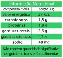 Informações nutricionais da Coalhada Seca