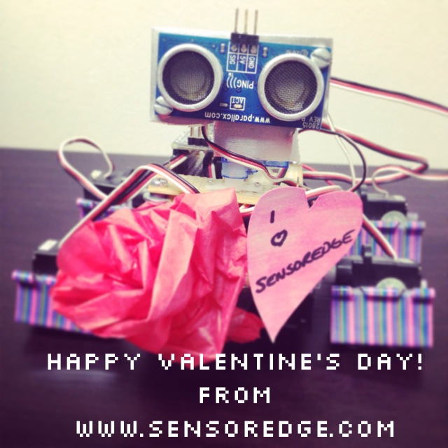 cute robot wishing you a happy valentines day from sensoredge