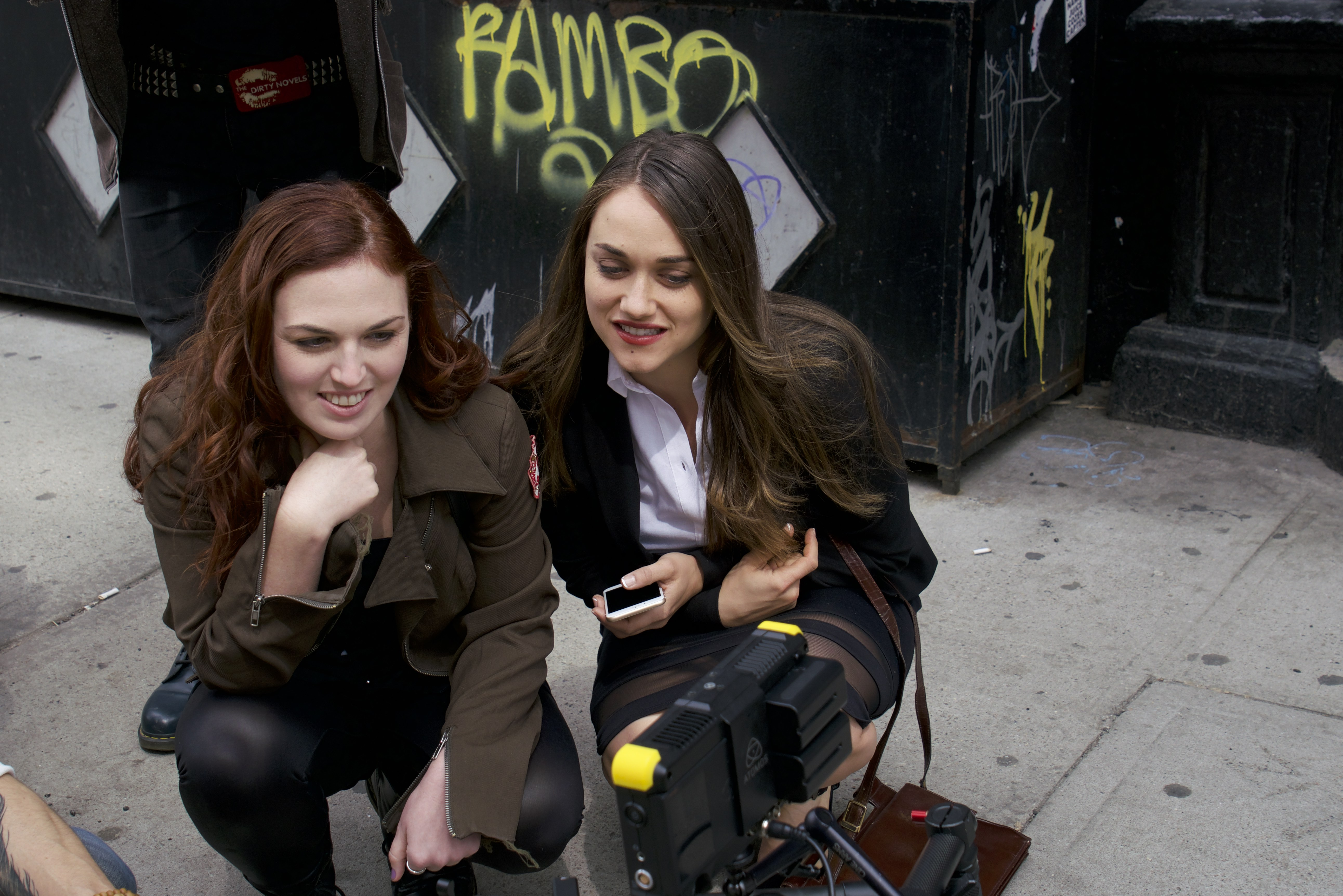 Stacey Maltin and Alice Kremelberg watching playback on set of Stronger Together copy.jpg