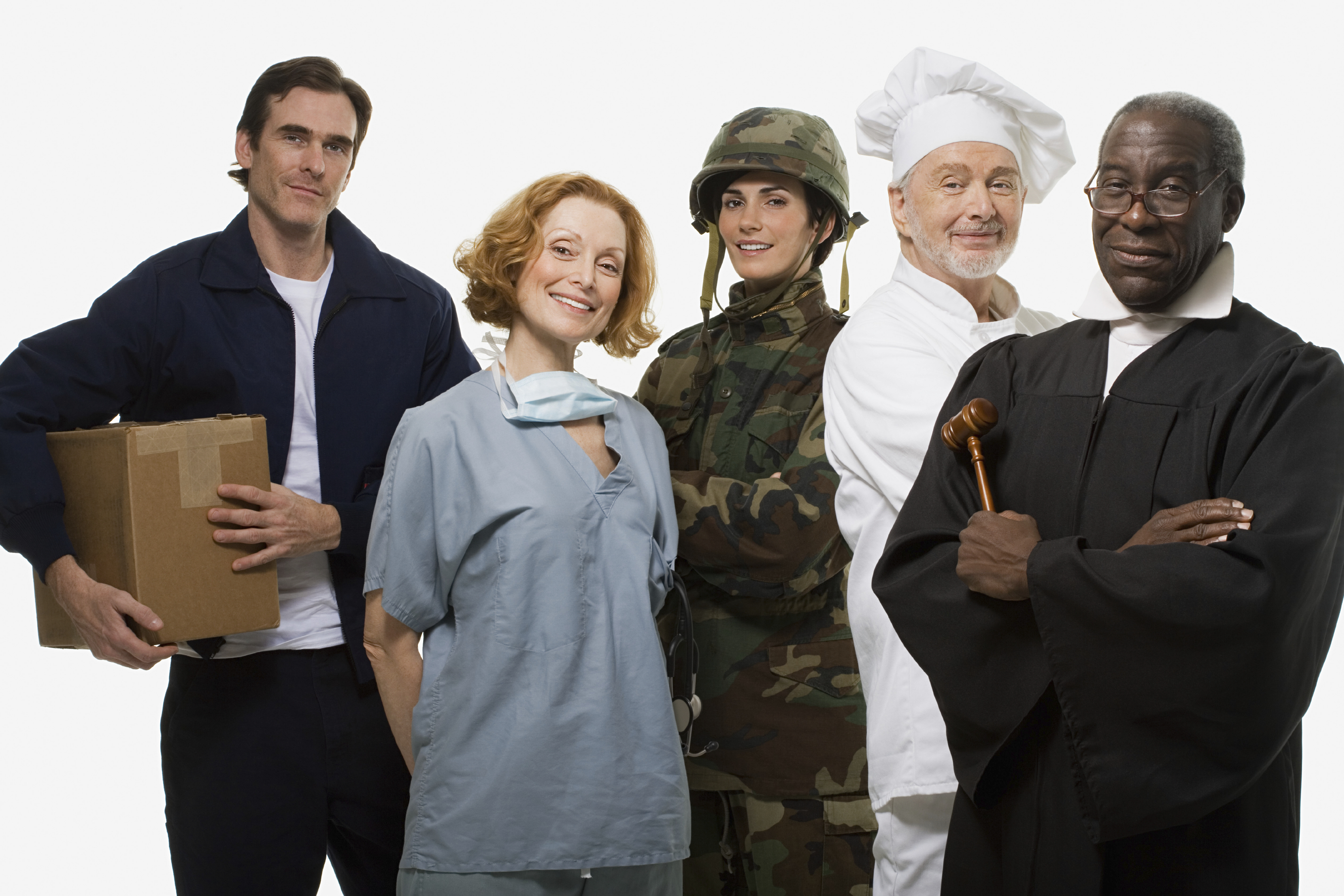 Delivery man, Surgeon, Soldier, Chef, and Judge.jpg