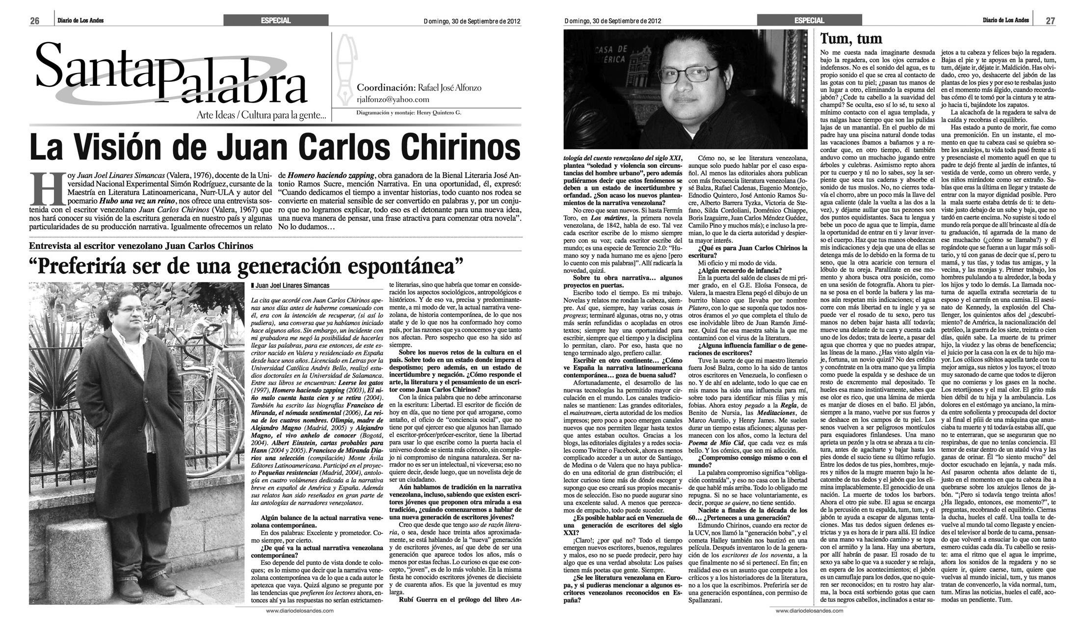 Entrevista de Juan Joel Linares en el Diario de Los Andes 30 09 2012.jpg