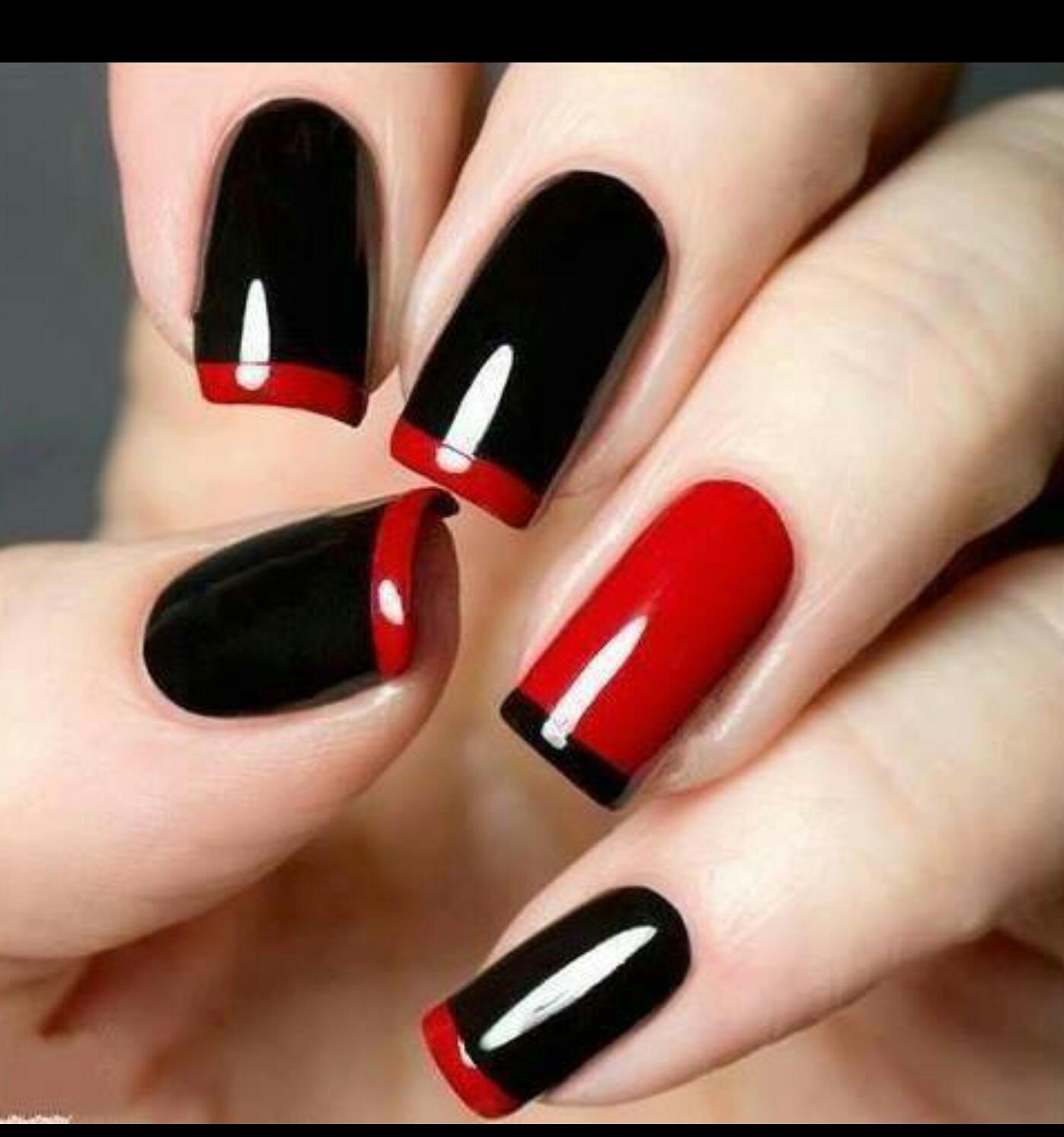 Черно-красные ногти дизайн