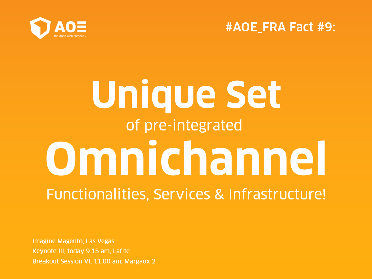 aoepeople: #AOE_FRA #9: Unique set of pre-integrated #Omnichannel Functionalities, Services & Infrastructure! #MagentoImagine https://t.co/X5vZx3VjZB