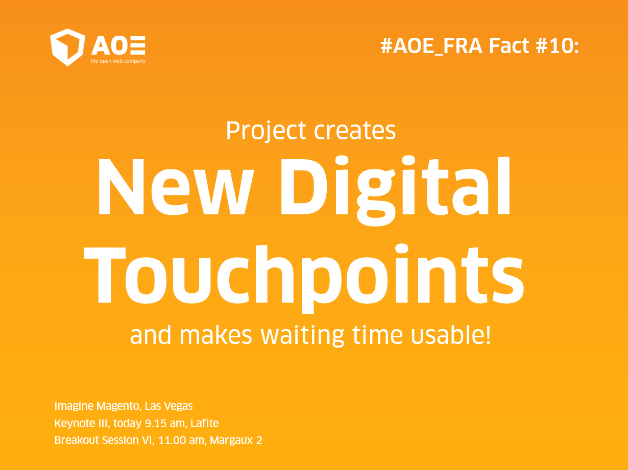 aoepeople: #AOE_FRA #10: Project creates digital touchpoints + makes waiting time usable! #MagentoImagine @Magento @Airport_FRA https://t.co/FU5WCw3zZf