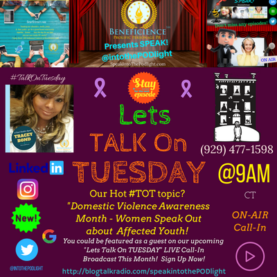 Our Hot #TOT topic- #TalkOnTuesday DomesticViolenceAwarenessMonth - Women Speak Out about affected youth! BlogTalkRadio.com%2FSpeakIntoThePo