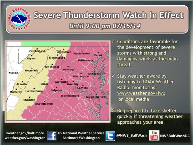 Severe Thunderstorm Watch issued for Alexandria and the DMV